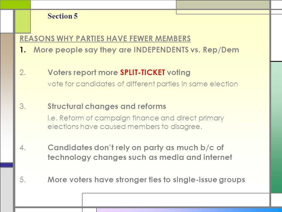 REASONS WHY PARTIES HAVE FEWER MEMBERS