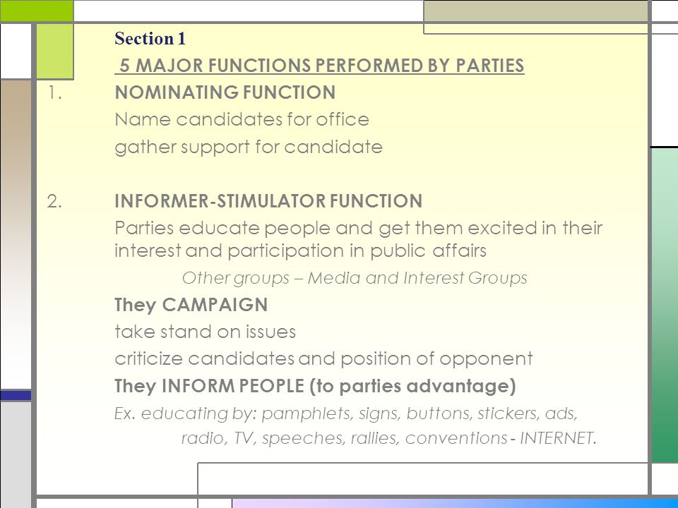 5 MAJOR FUNCTIONS PERFORMED BY PARTIES 1. NOMINATING FUNCTION