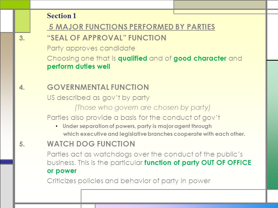 5 MAJOR FUNCTIONS PERFORMED BY PARTIES