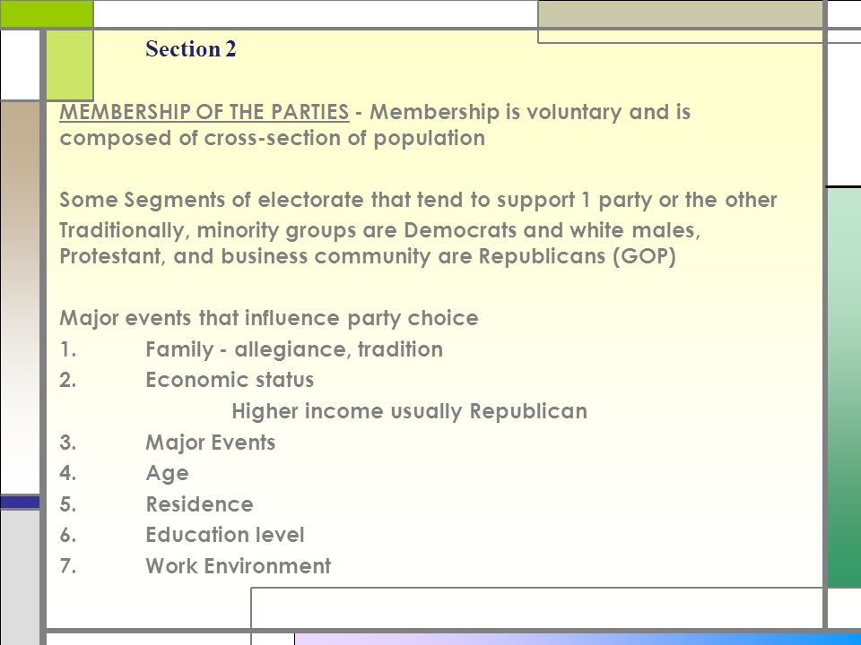 Chapter 5 Section 2. MEMBERSHIP OF THE PARTIES - Membership is voluntary and is composed of cross-section of population.