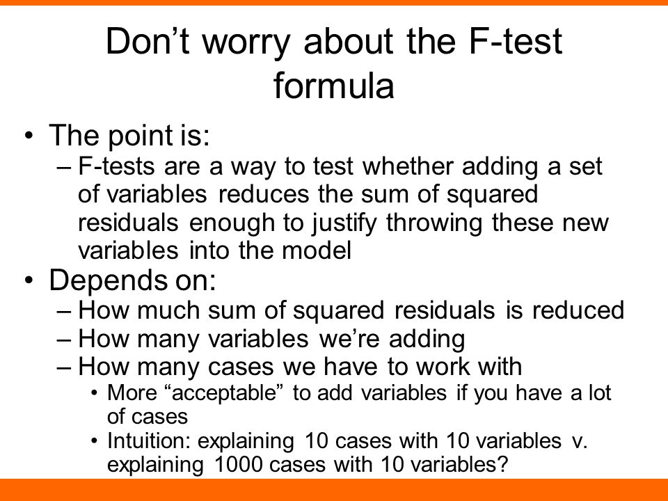 Don't worry about the F-test formula