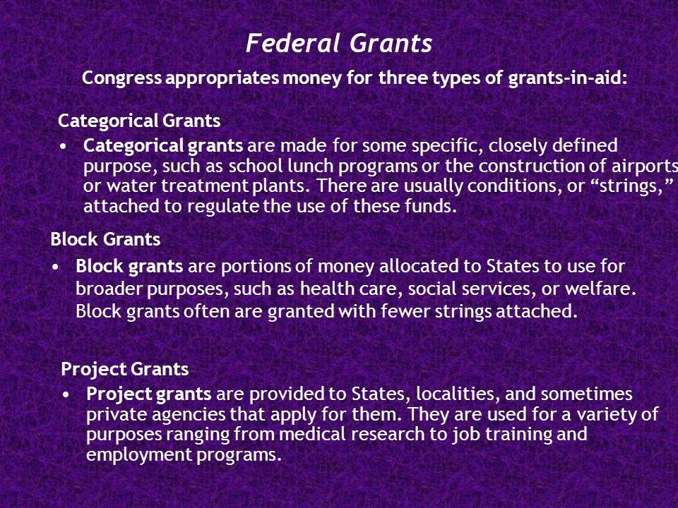 Congress appropriates money for three types of grants-in-aid: