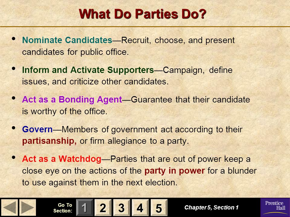 What Do Parties Do Nominate Candidates—Recruit, choose, and present candidates for public office.