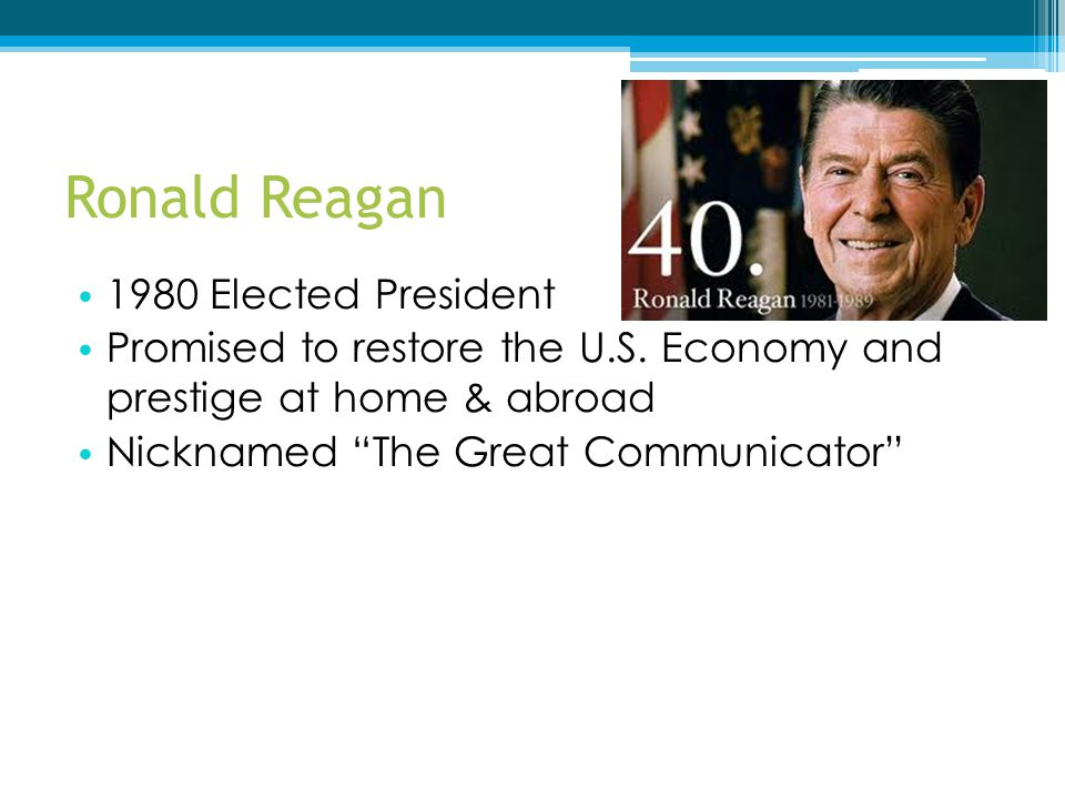Ronald Reagan 1980 Elected President