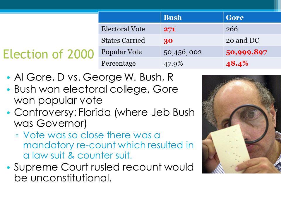 Election of 2000 Al Gore, D vs. George W. Bush, R