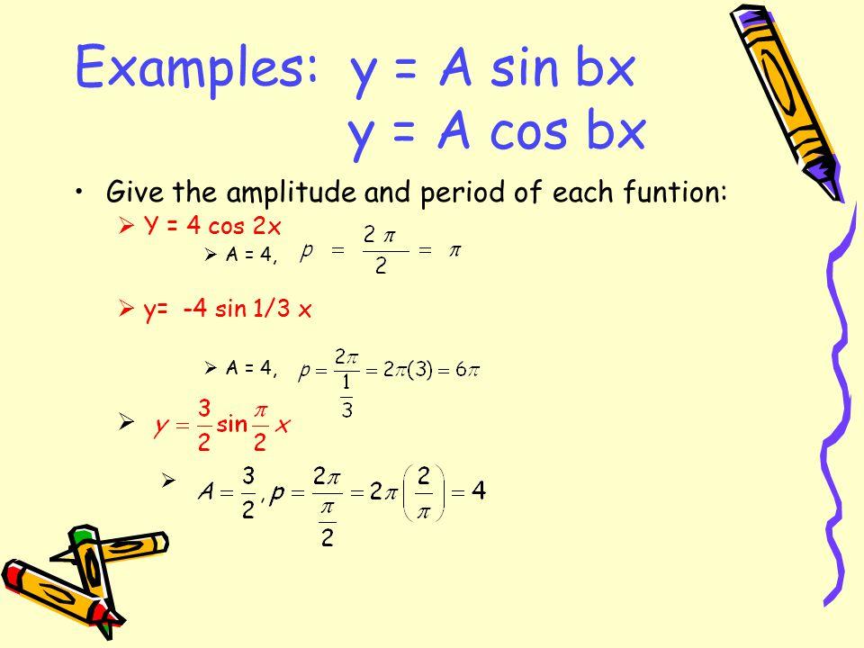 Examples: y = A sin bx y = A cos bx