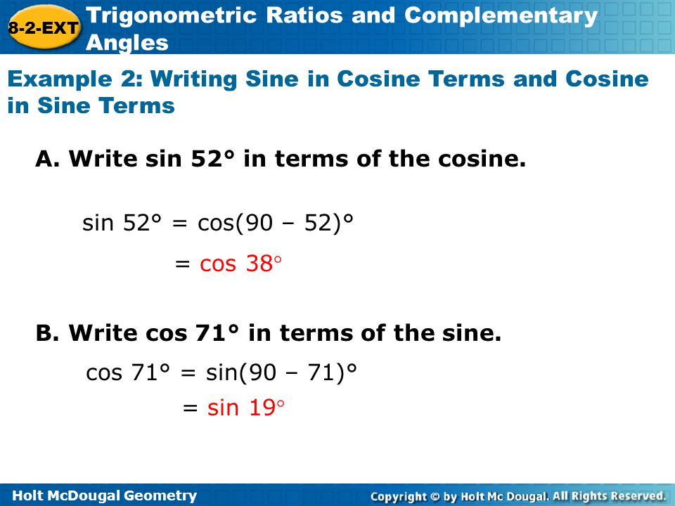 Example 2: Writing Sine in Cosine Terms and Cosine in Sine Terms