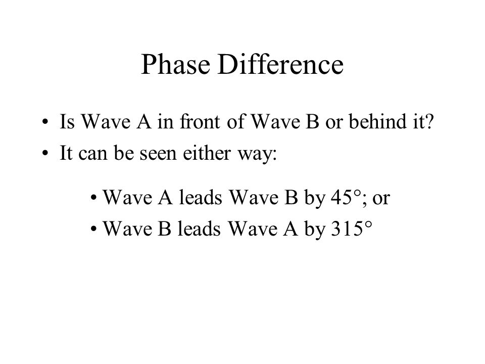Phase Difference Is Wave A in front of Wave B or behind it