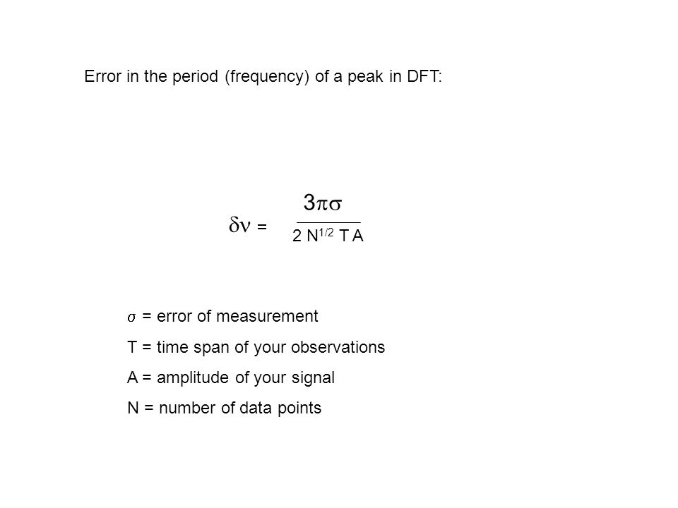 3ps dn = Error in the period (frequency) of a peak in DFT: 2 N1/2 T A