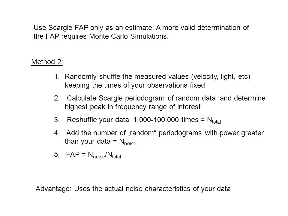 Use Scargle FAP only as an estimate