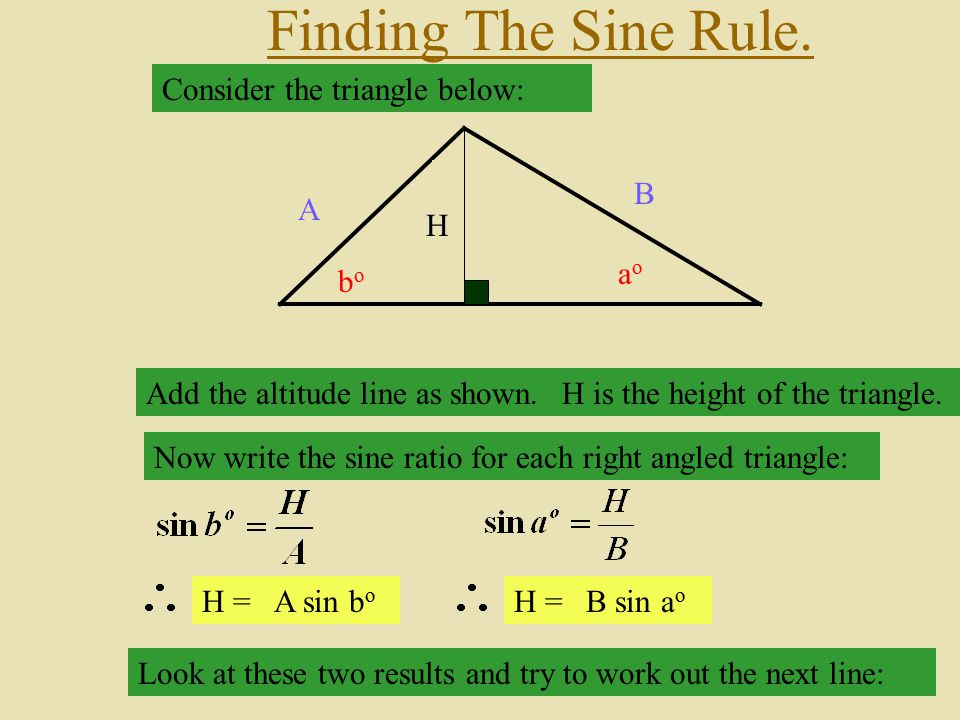 Finding The Sine Rule. Consider the triangle below: C A B ao bo co H