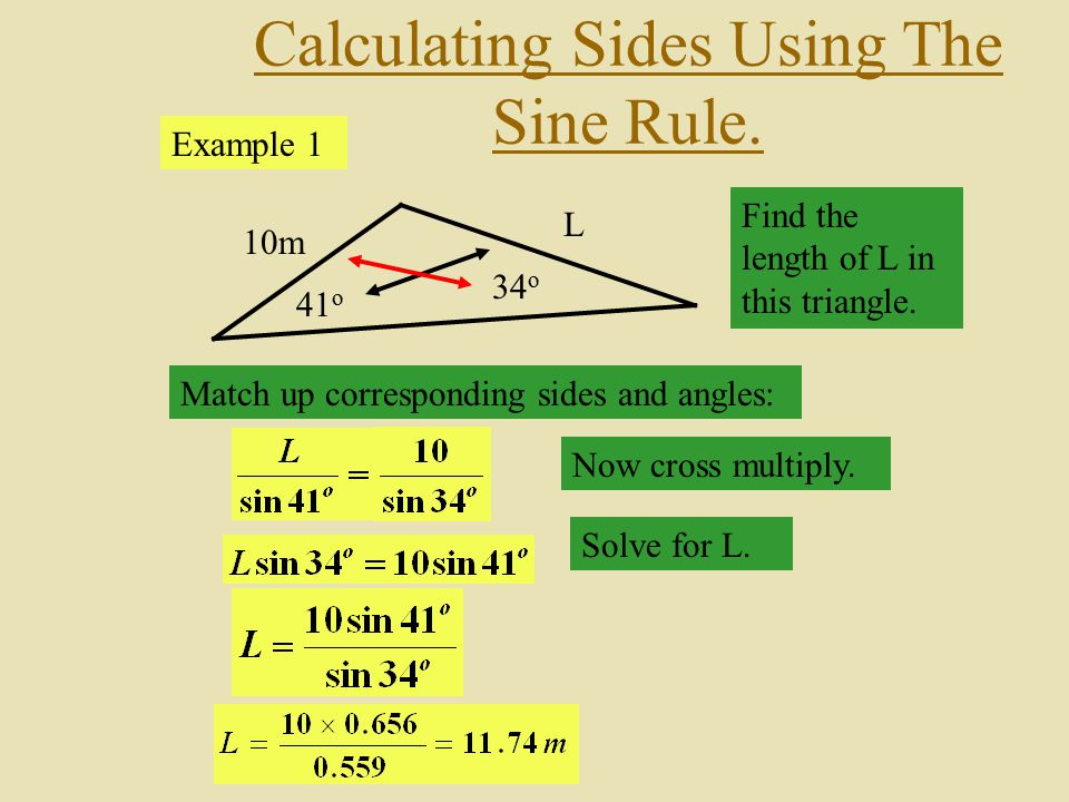how to find the length of triangle sides using angles