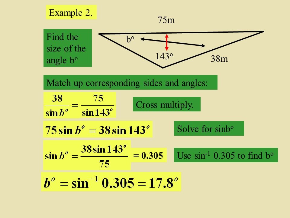 Example 2. 143o. 75m. 38m. bo. Find the size of the angle bo. Match up corresponding sides and angles: