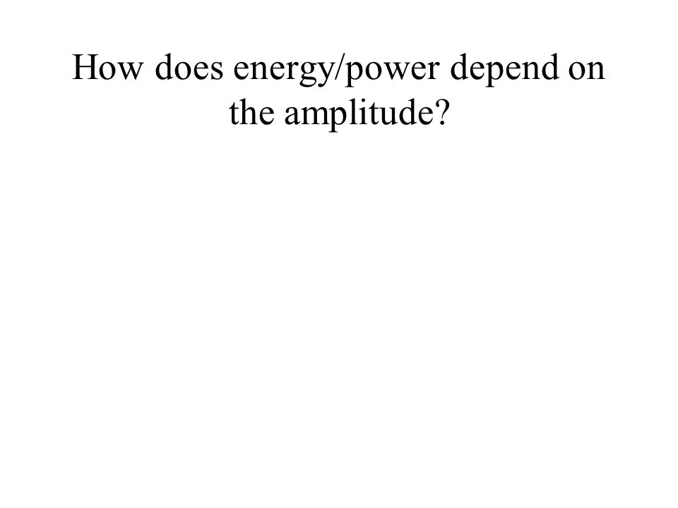 How does energy/power depend on the amplitude