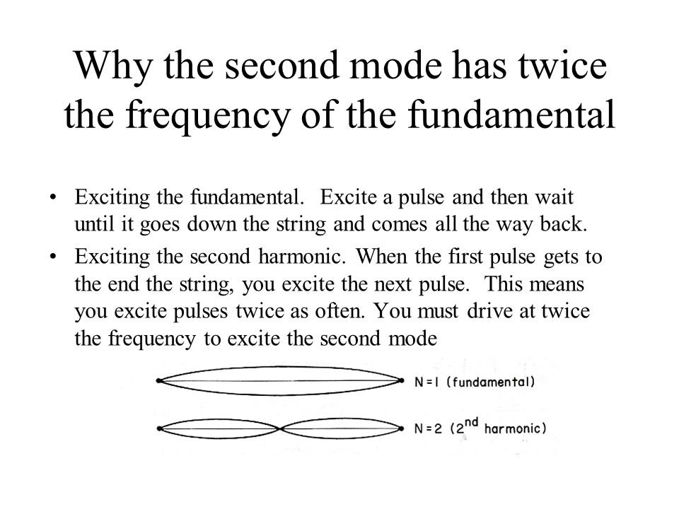 Why the second mode has twice the frequency of the fundamental