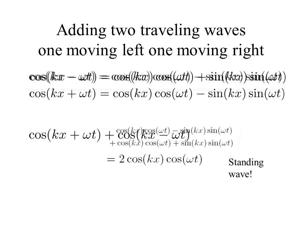 Adding two traveling waves one moving left one moving right