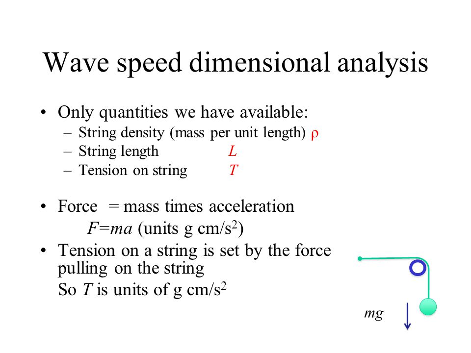 Wave speed dimensional analysis