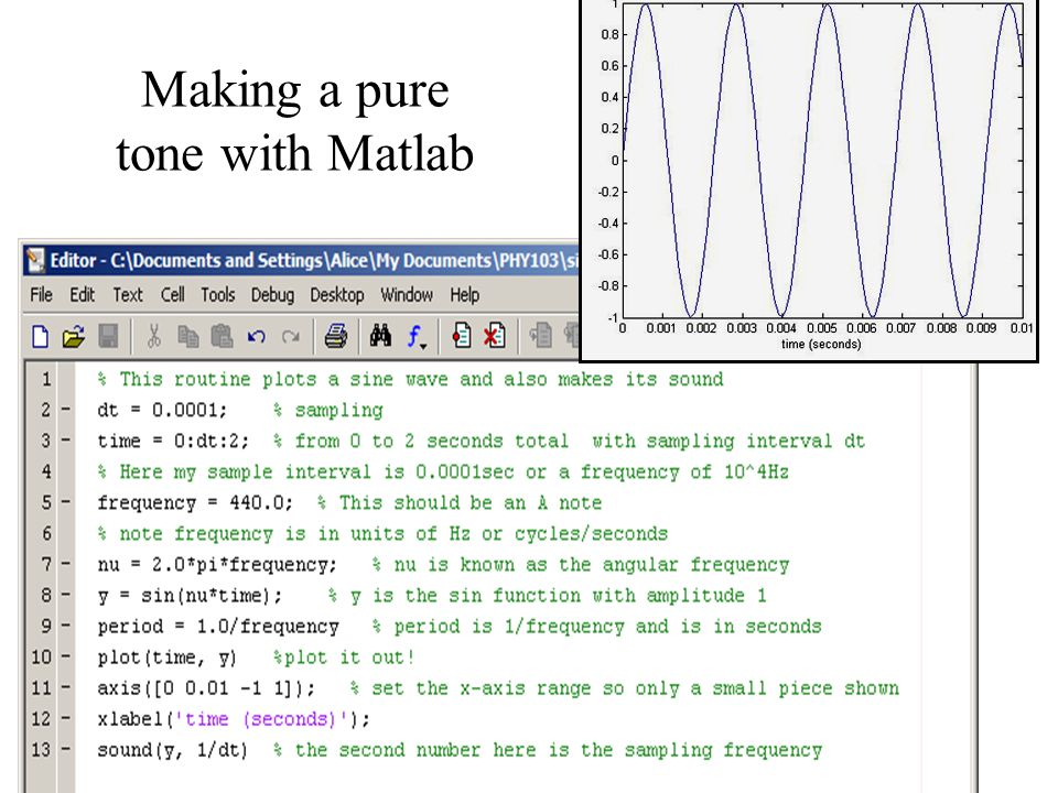 Making a pure tone with Matlab