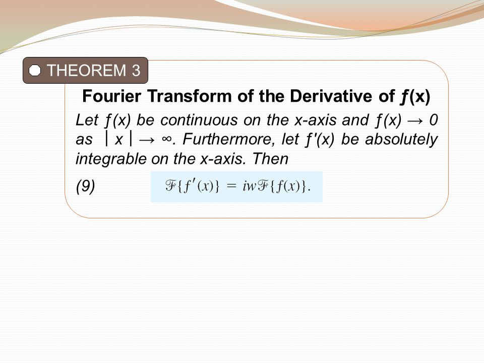Fourier Transform of the Derivative of ƒ(x)