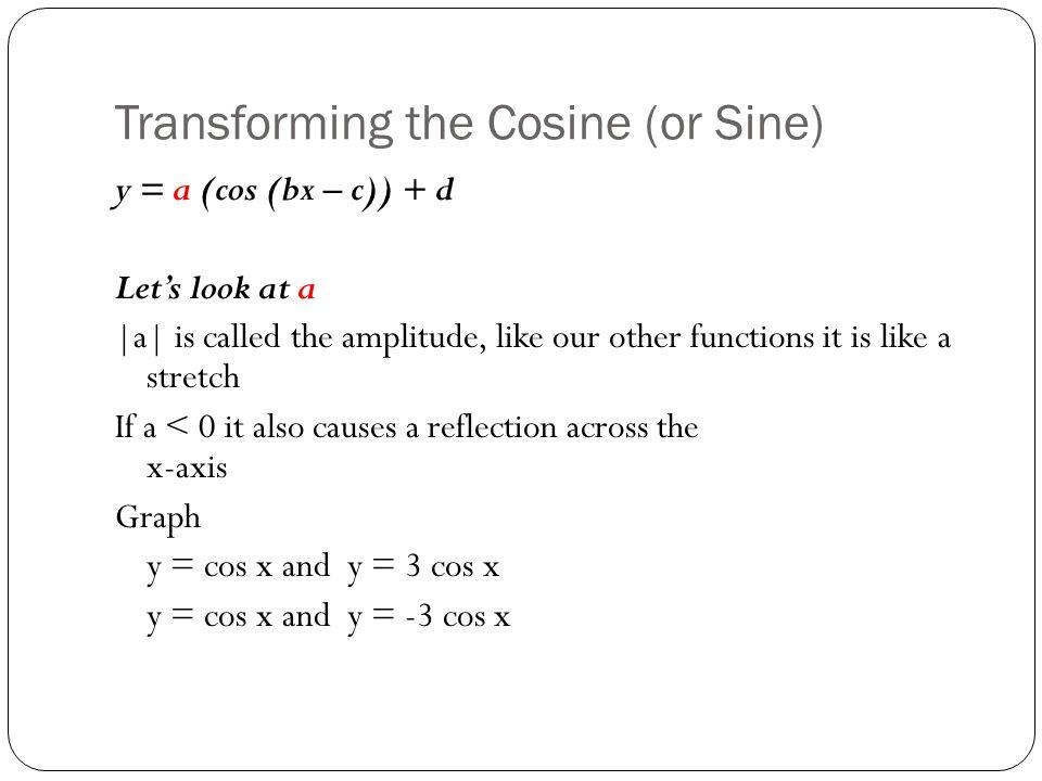 Transforming the Cosine (or Sine)