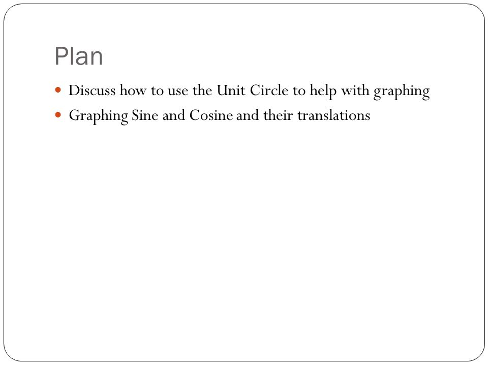Plan Discuss how to use the Unit Circle to help with graphing