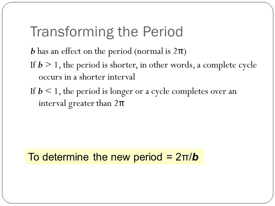 Transforming the Period