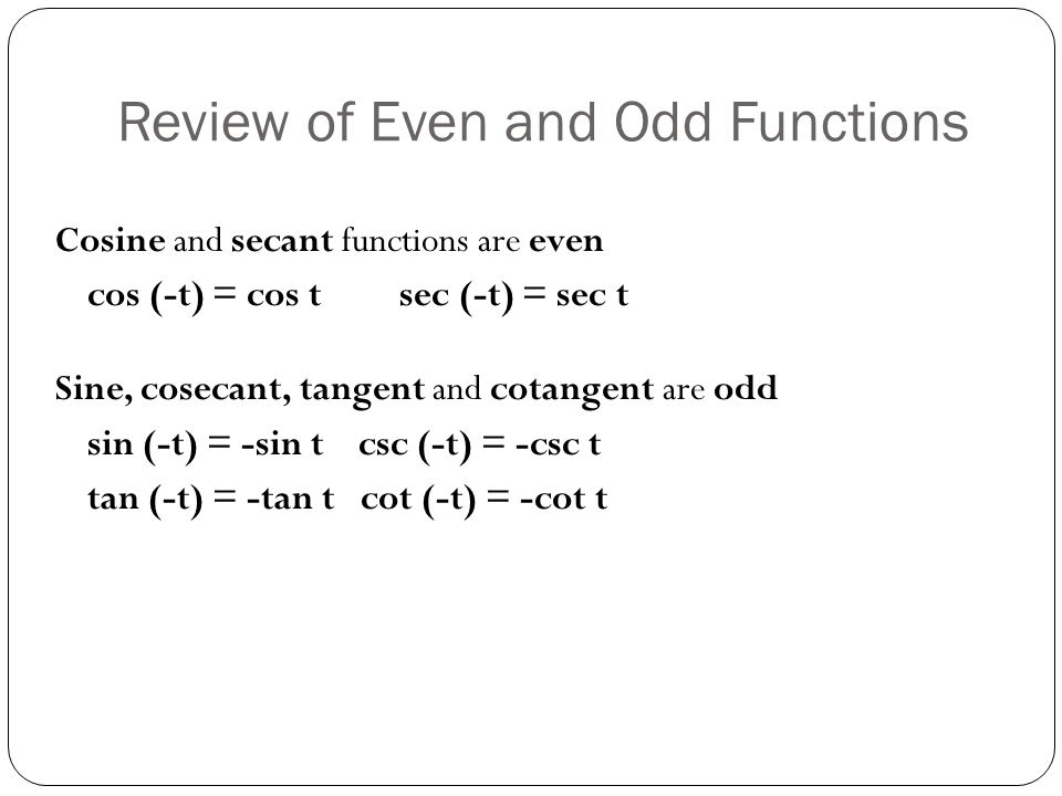 Review of Even and Odd Functions