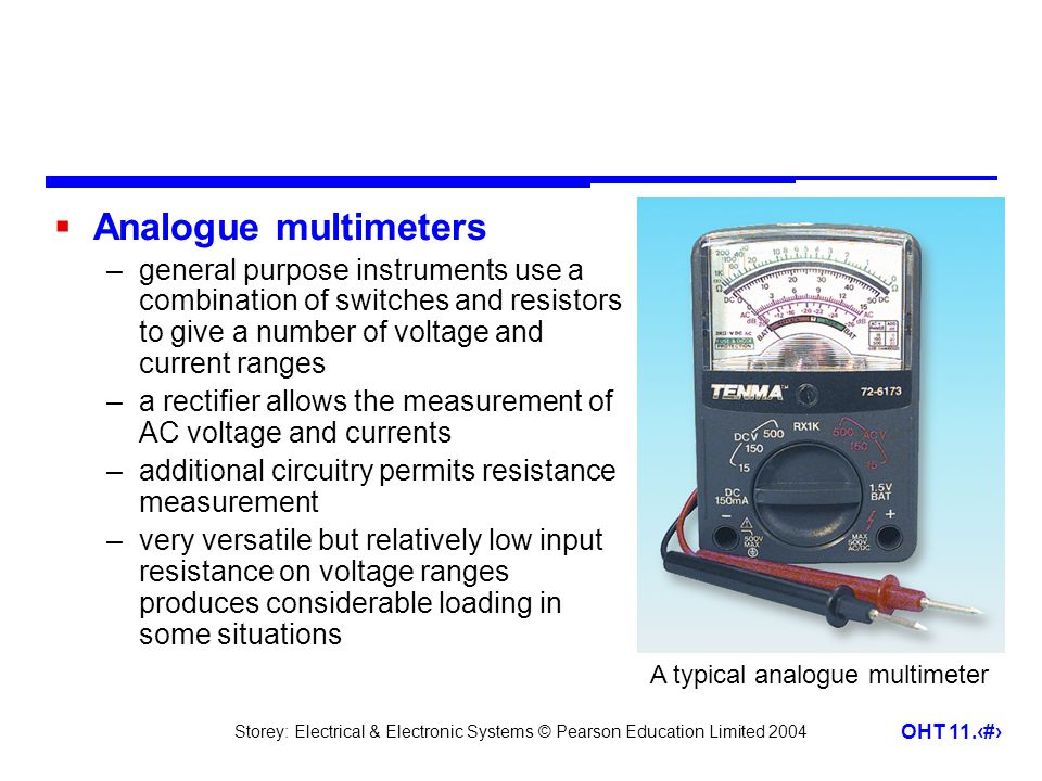 Analogue multimeters general purpose instruments use a combination of switches and resistors to give a number of voltage and current ranges.