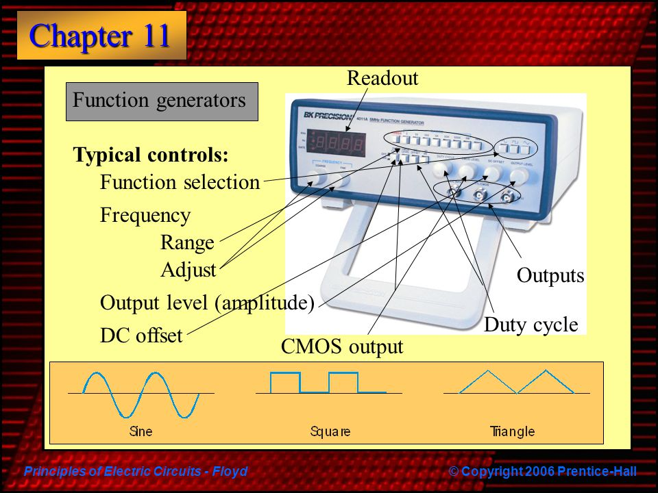 Readout Function generators. Typical controls: Function selection. Frequency. Range. Adjust. Outputs.