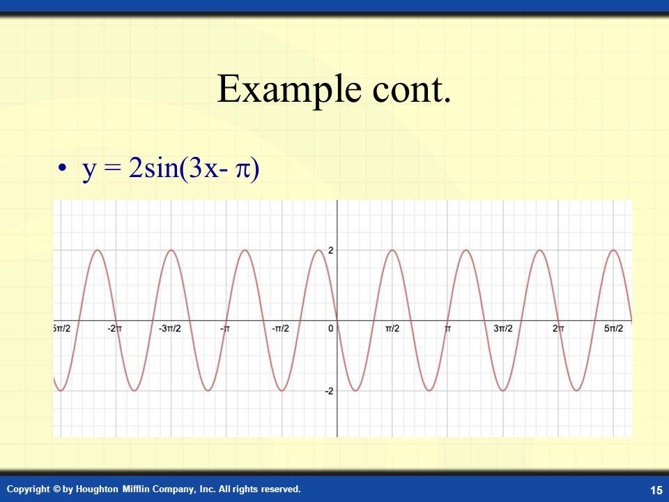 Example cont. y = 2sin(3x- )