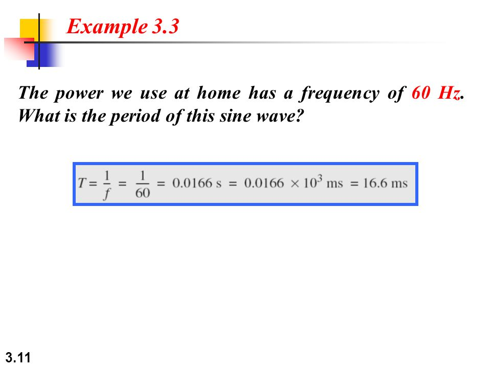 Example 3.3 The power we use at home has a frequency of 60 Hz.