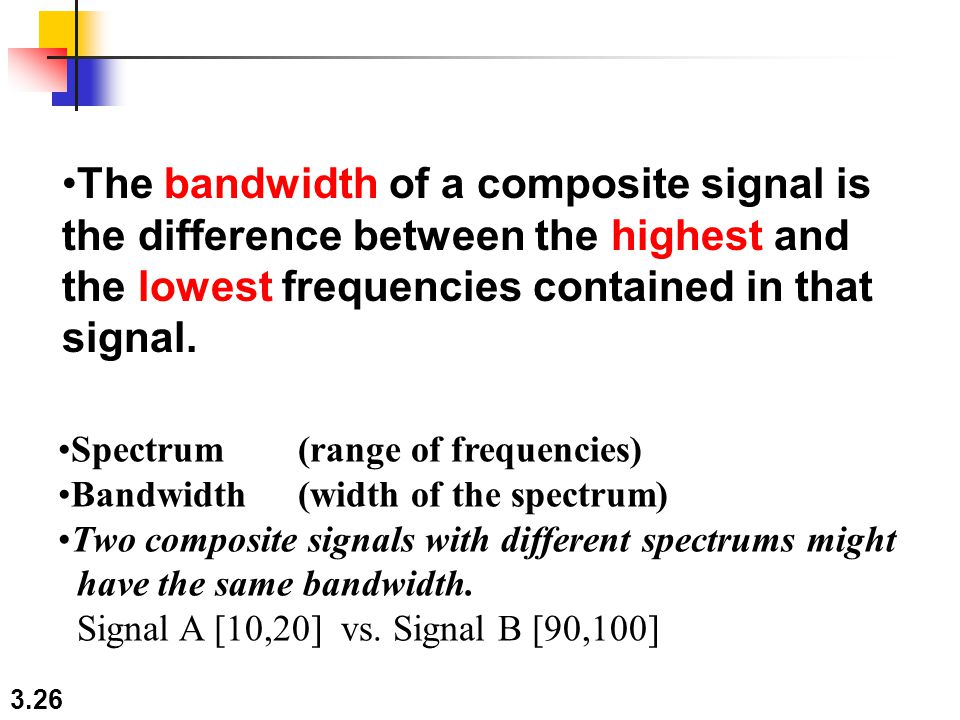 The bandwidth of a composite signal is the difference between the highest and the lowest frequencies contained in that signal.