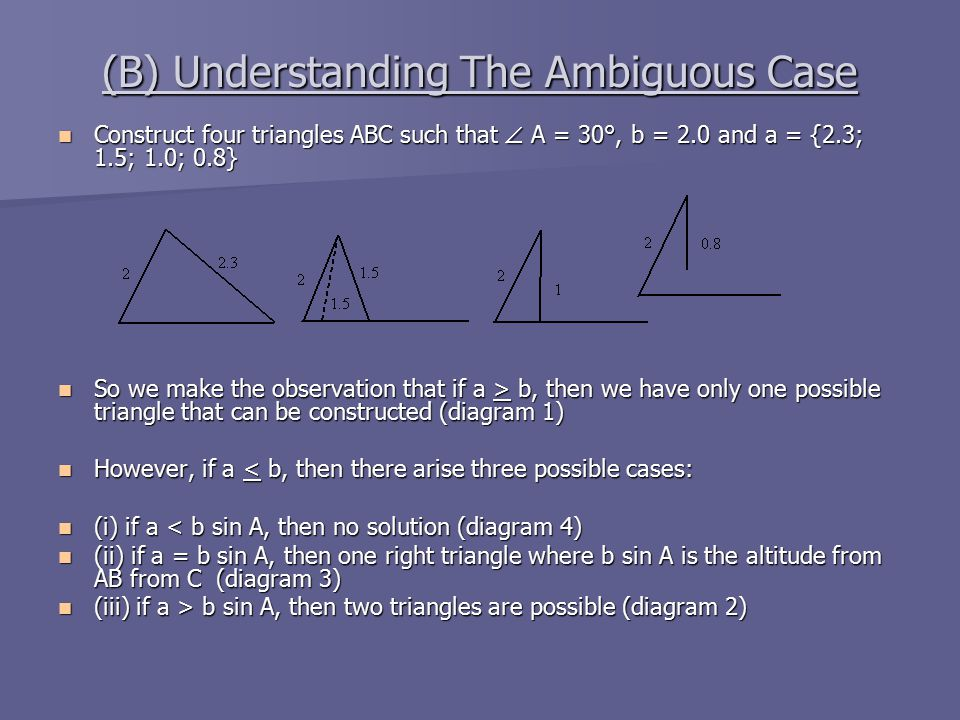 (B) Understanding The Ambiguous Case