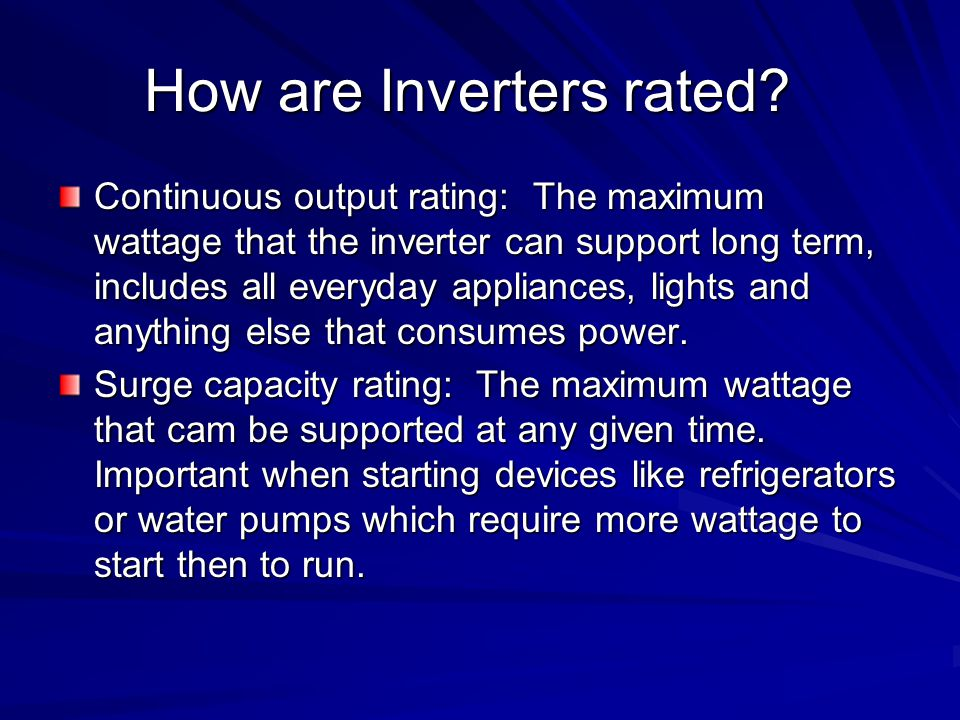 How are Inverters rated