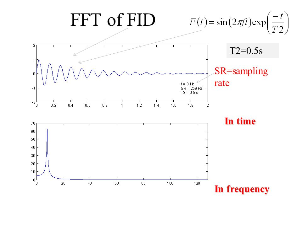 FFT of FID T2=0.5s SR=sampling rate In time In frequency