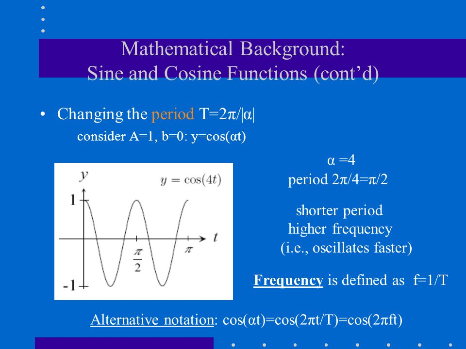 Mathematical Background: Sine and Cosine Functions (cont'd)