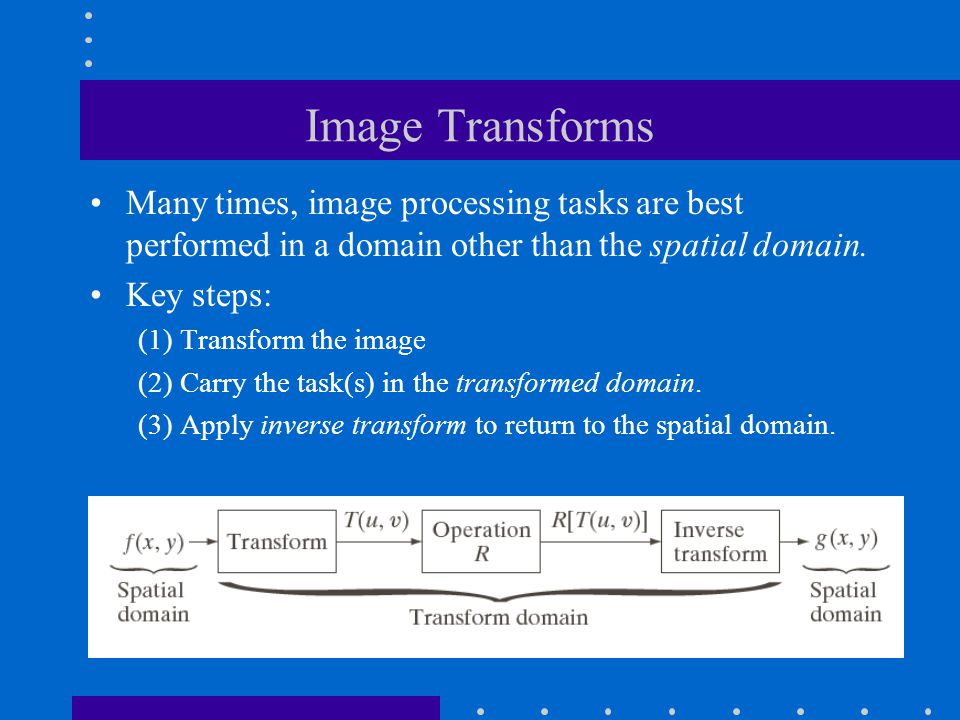 Image Transforms Many times, image processing tasks are best performed in a domain other than the spatial domain.