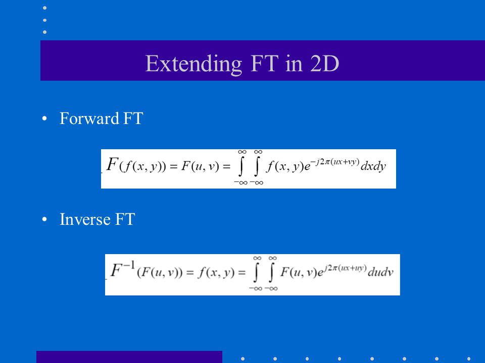 Extending FT in 2D Forward FT Inverse FT