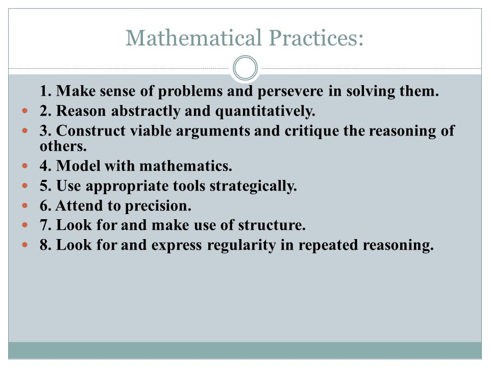 Mathematical Practices:
