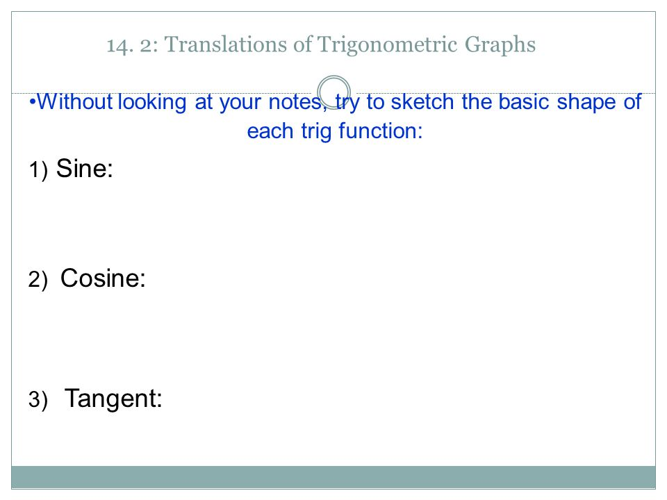 14. 2: Translations of Trigonometric Graphs