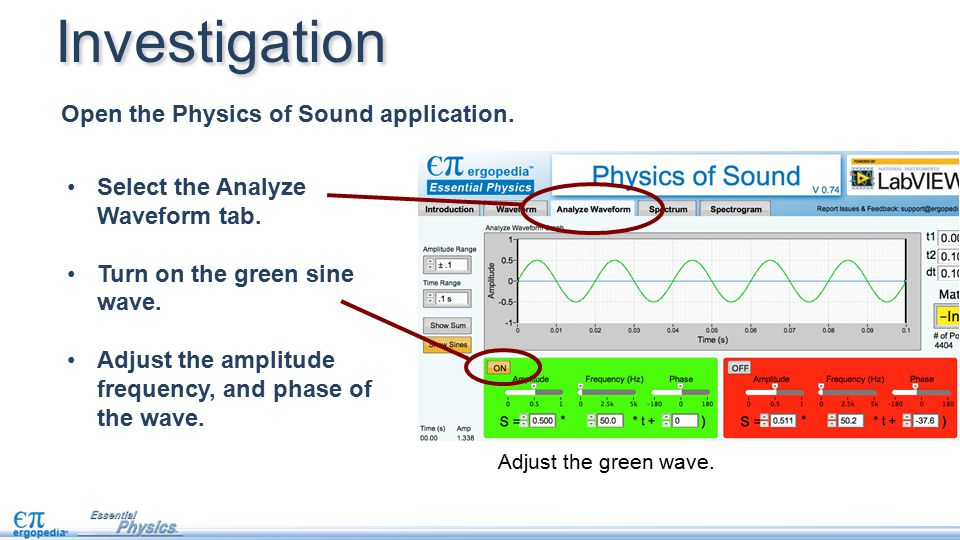 Investigation Open the Physics of Sound application.