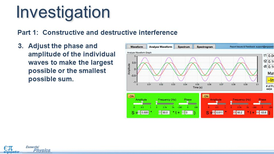 Investigation Part 1: Constructive and destructive interference