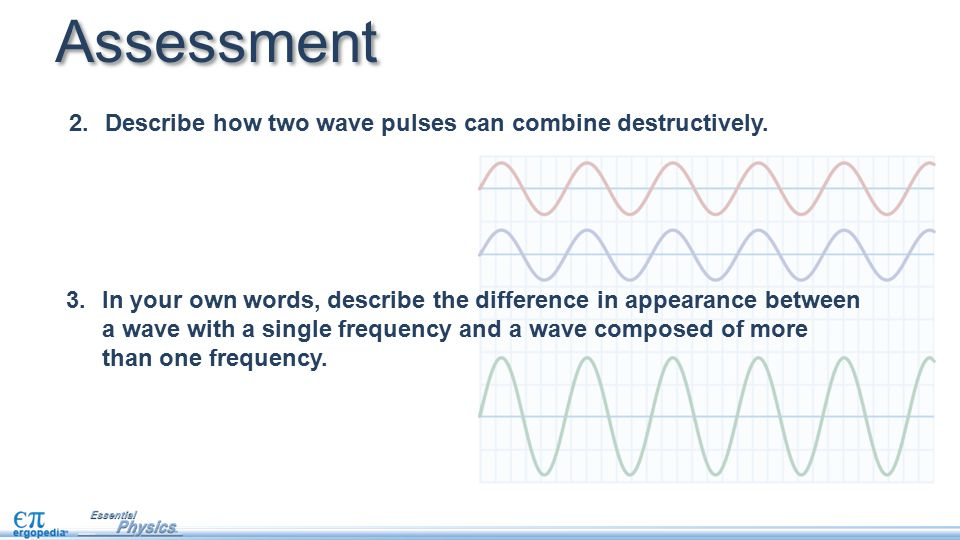 Assessment Describe how two wave pulses can combine destructively.