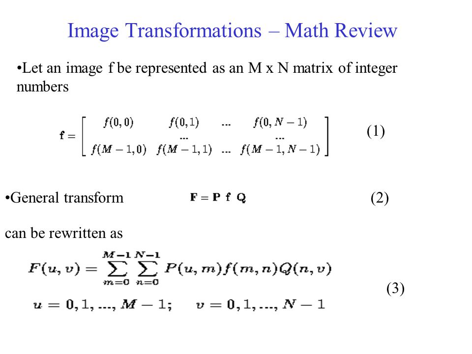 Image Transformations – Math Review