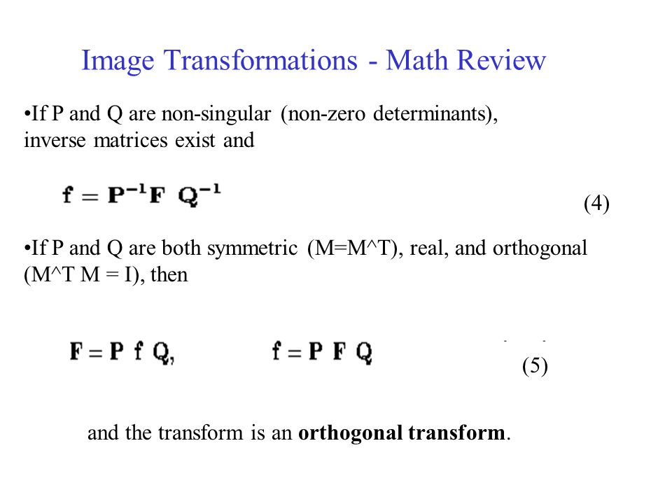 Image Transformations - Math Review