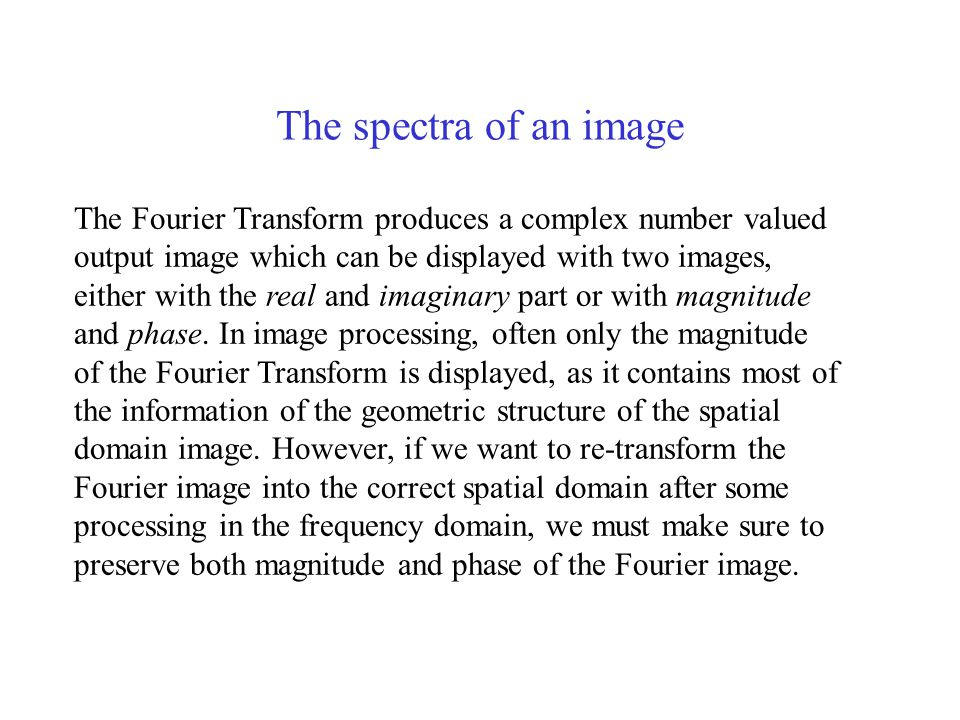 The spectra of an image
