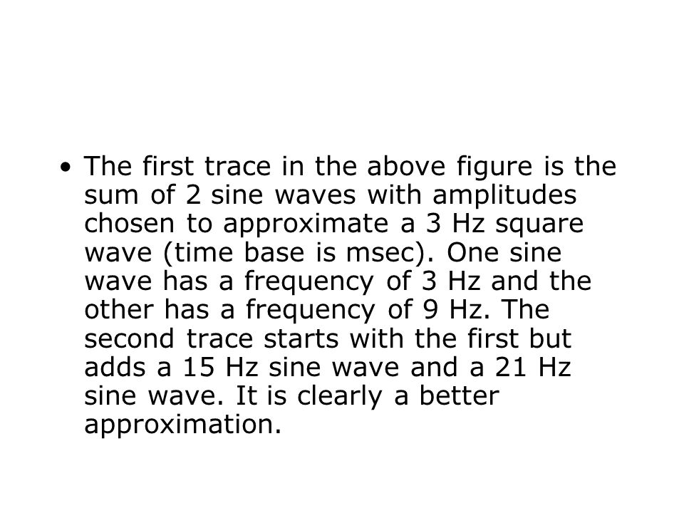 The first trace in the above figure is the sum of 2 sine waves with amplitudes chosen to approximate a 3 Hz square wave (time base is msec).