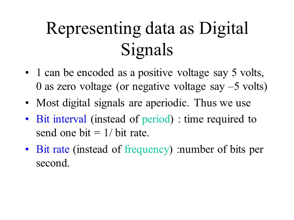 Representing data as Digital Signals