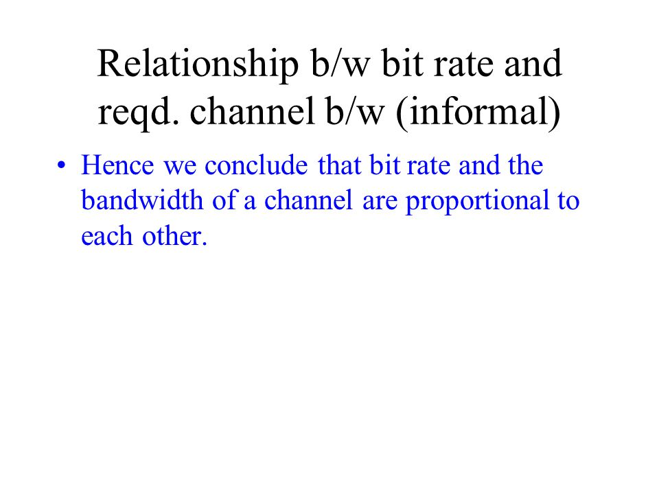 Relationship b/w bit rate and reqd. channel b/w (informal)