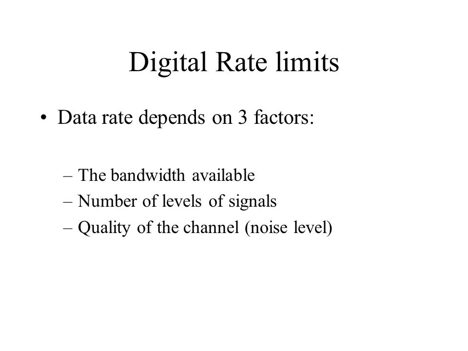 Digital Rate limits Data rate depends on 3 factors: